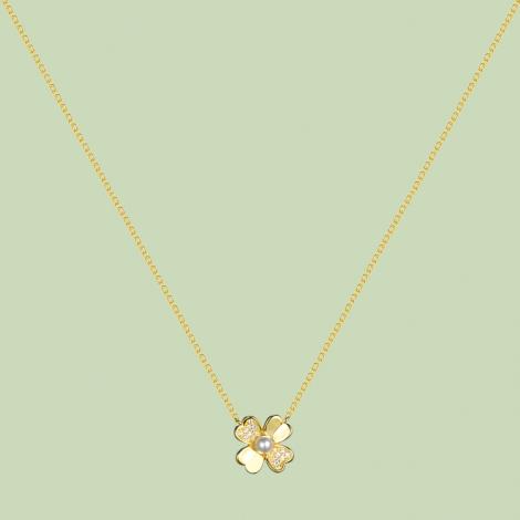 Gold Plated Flower Pattern Necklace Flj Net1784 Nl