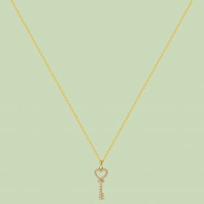 Gold Plated Key Pattern Necklace Flj Net1781 Nl