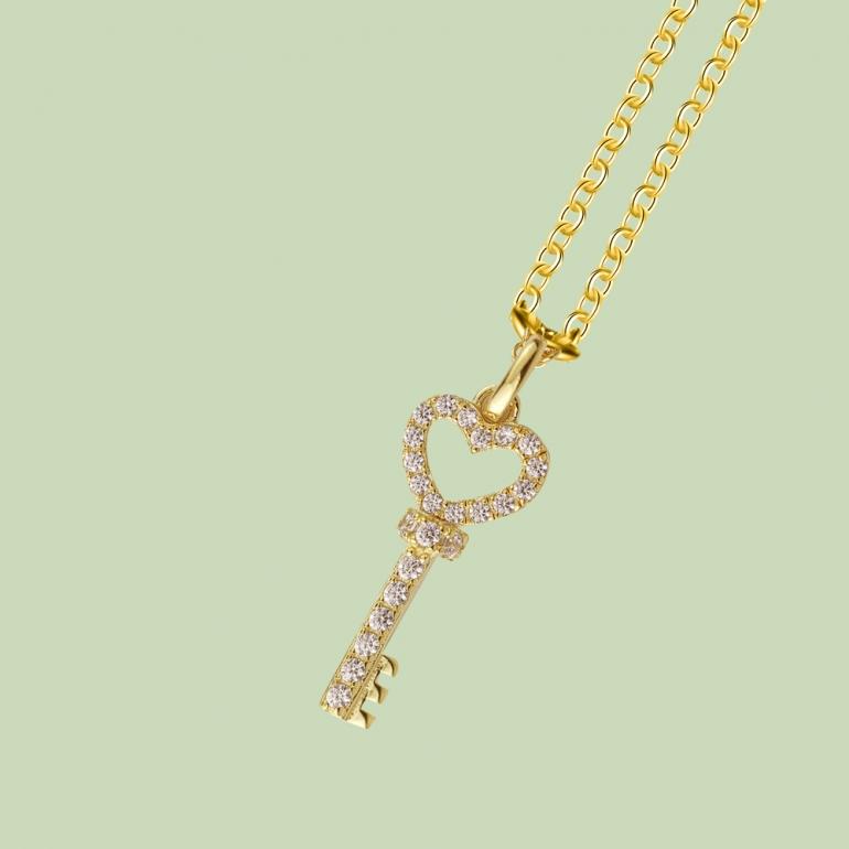 Gold Plated Key Pattern Necklace Flj Net1781 Nl