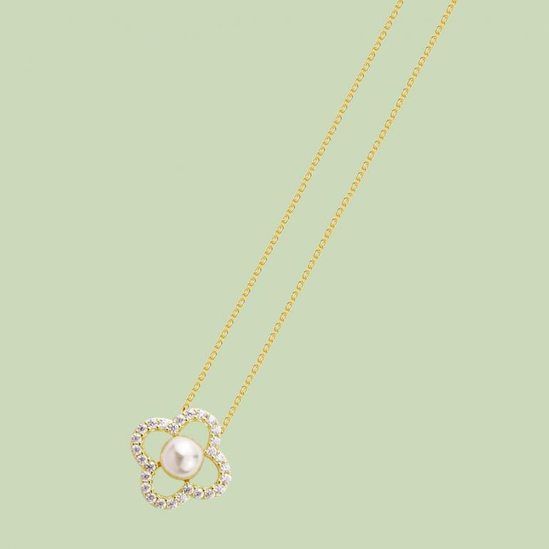 Flower Pattern Necklace Flj Net1198 16 Nl