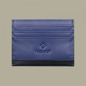 Fabian leather black blue card holder fmwc slg15 bnbl front
