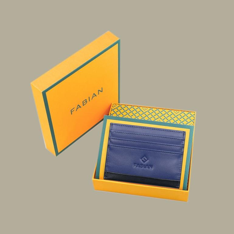 Fabian leather black blue card holder fmwc slg15 bnbl with box