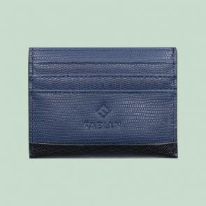 Fabian leather black blue card holder fmwc slg18 bnbl front