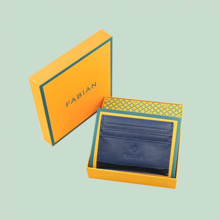 Fabian leather black blue card holder fmwc slg18 bnbl with box