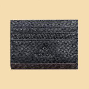 Fabian leather black brown card holder fmwc slg17 bnbr front