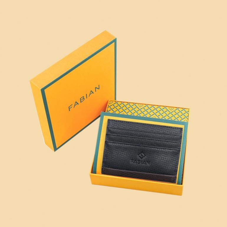 Fabian leather black brown card holder fmwc slg17 bnbr with box