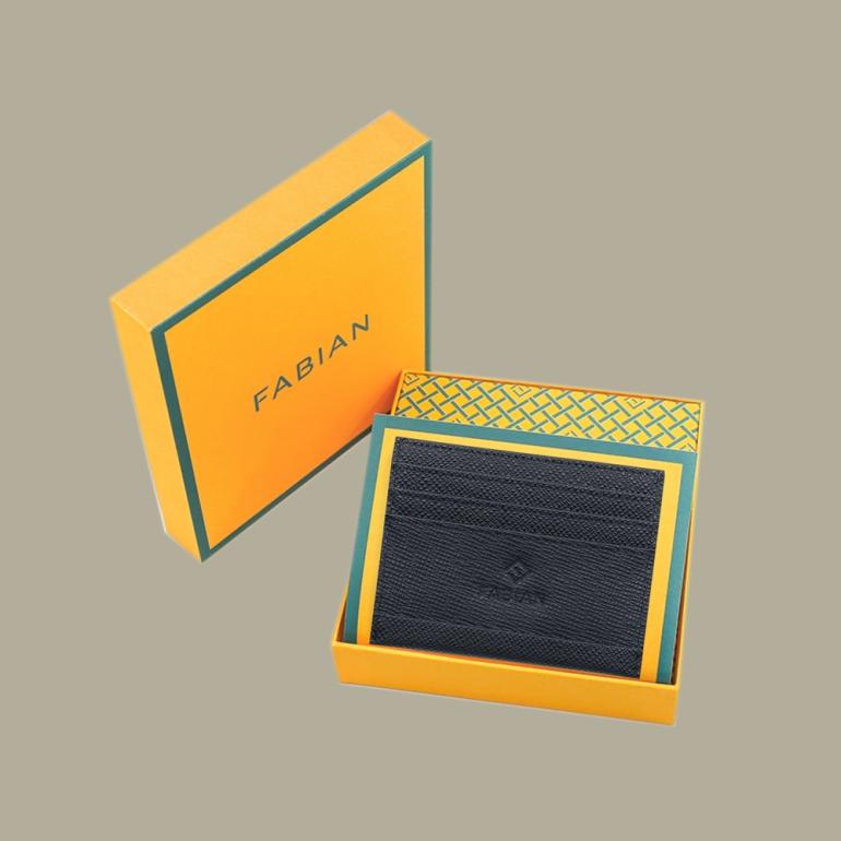 Fabian leather black card holder fmwc slg13 b with box
