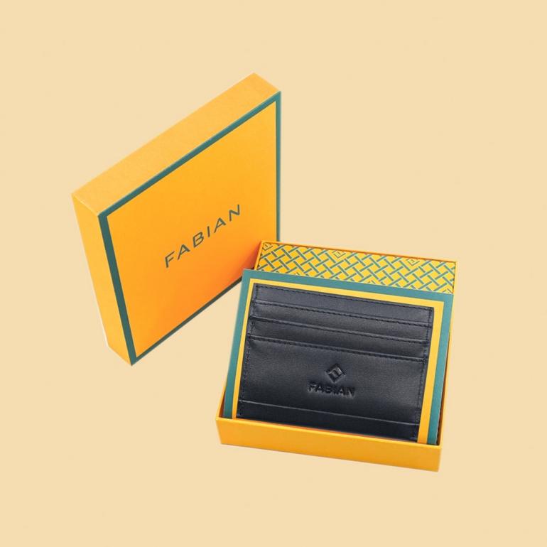 Fabian leather black card holder fmwc slg14 b with box
