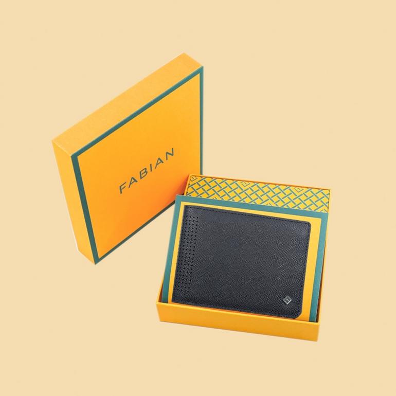 Fabian leather black wallet fmw slg20 b with box