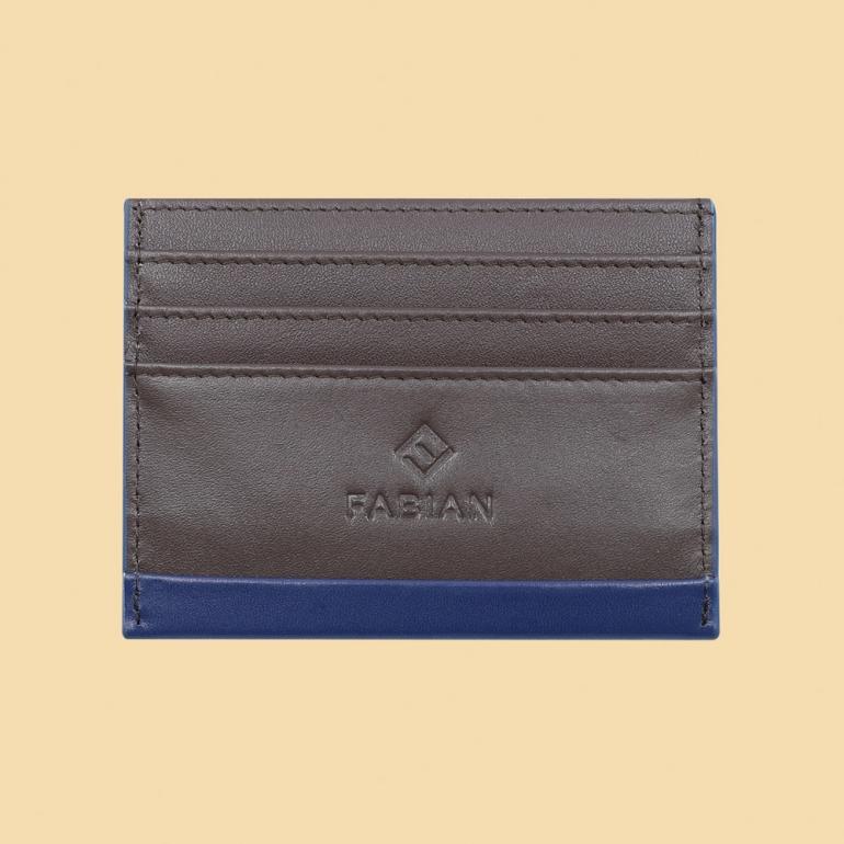 Fabian leather blue brown card holder fmwc slg16 blnbr front