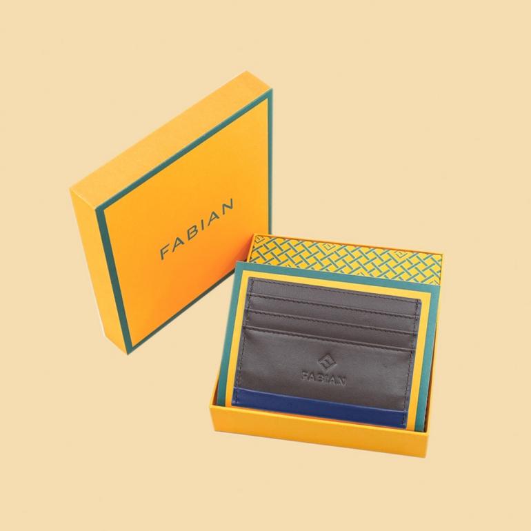 fabian leather blue brown card holder fmwc slg16 blnbr with box