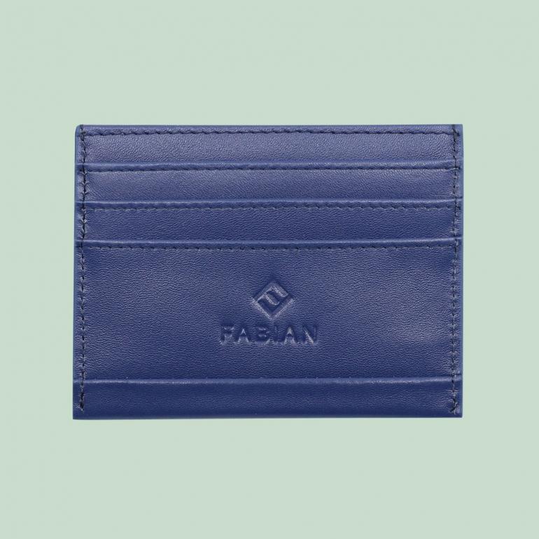 Fabian leather blue card holder fmwc slg39 bl front
