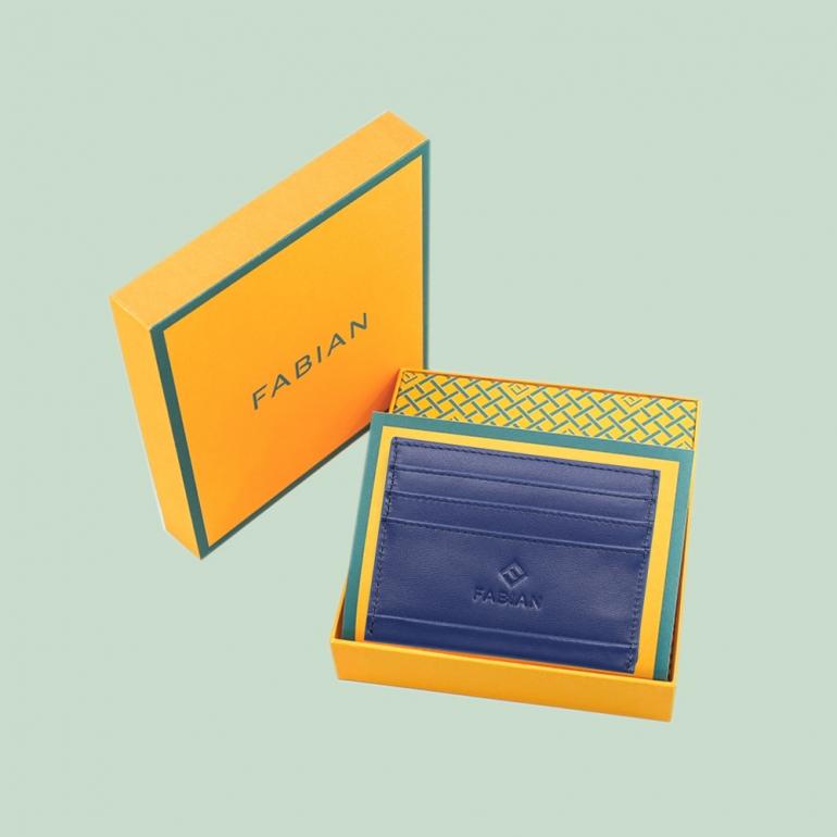 Fabian leather blue card holder fmwc slg39 bl with box