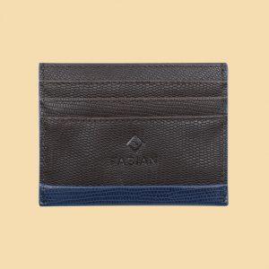 Fabian leather brown blue card holder fmwc slg19 brnbl front
