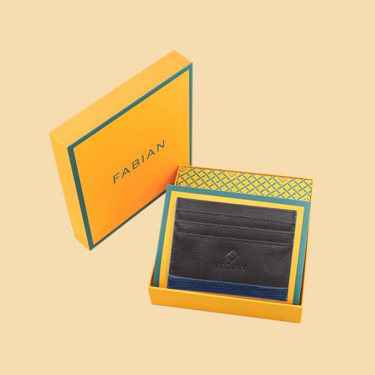 Fabian leather brown blue card holder fmwc slg19 brnbl with box