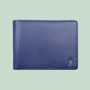 Fabian leather brown blue wallet fmw slg51 brnbl front