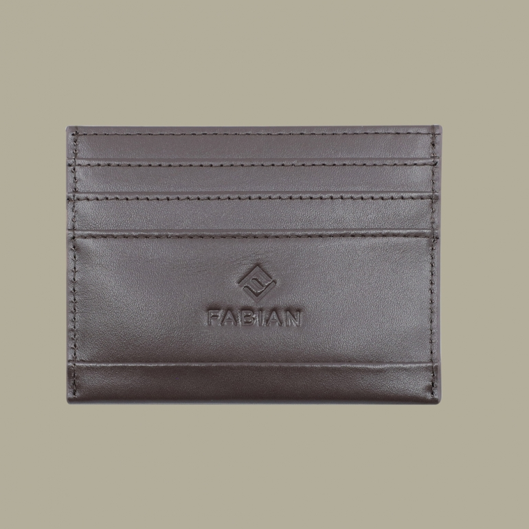 Fabian leather brown card holder fmwc slg38 br front