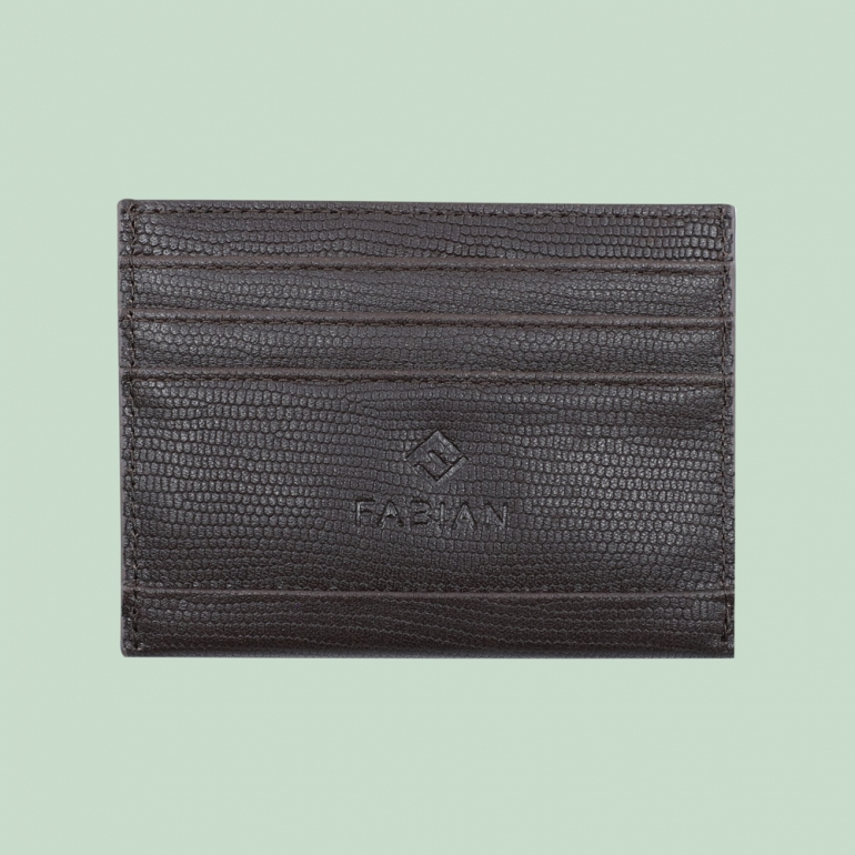 Fabian leather brown card holder fmwc slg40 br front