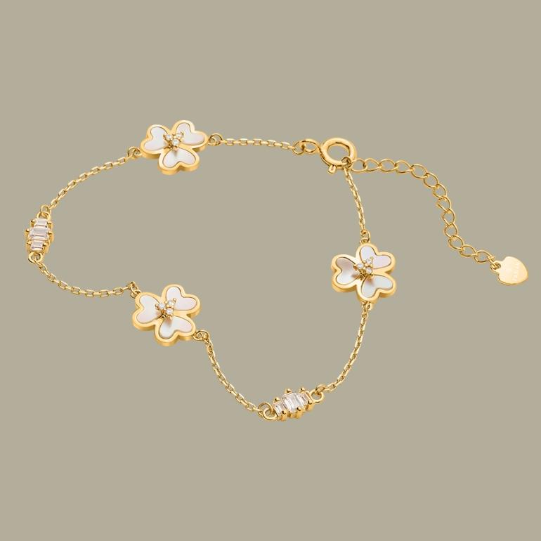 Fabian 3 Petal Flower Design Gold Bracelet-FLJ-OA17B5411S-BR.G 01