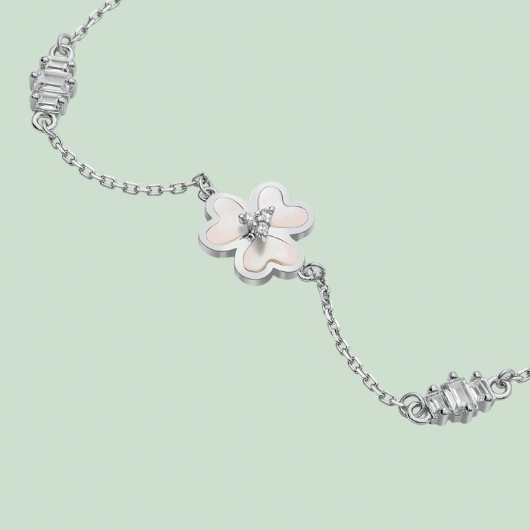 Fabian 3 Petal Flower Design Silver Bracelet-FLJ-OA17B5411S-BR.S 02