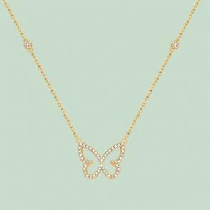 Fabian Butterfly Pendant Gold Necklace-FLJ-CG20N3991S-NL.G 01