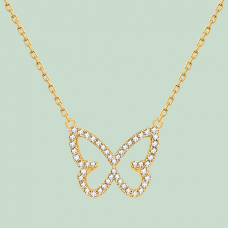Fabian Butterfly Pendant Gold Necklace-FLJ-CG20N3991S-NL.G 02