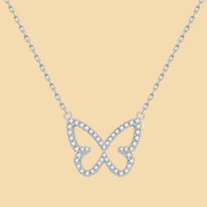 Fabian Butterfly Pendant Silver Necklace-FLJ-CG20N3991S-NL.S 02