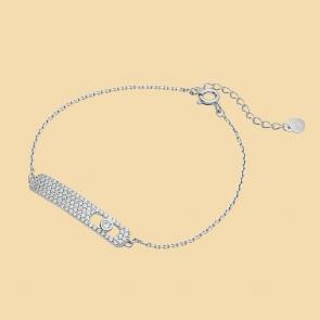 Fabian Rectangular Design Silver Bracelet-FLJ-CG20B2275S-BR.S 01