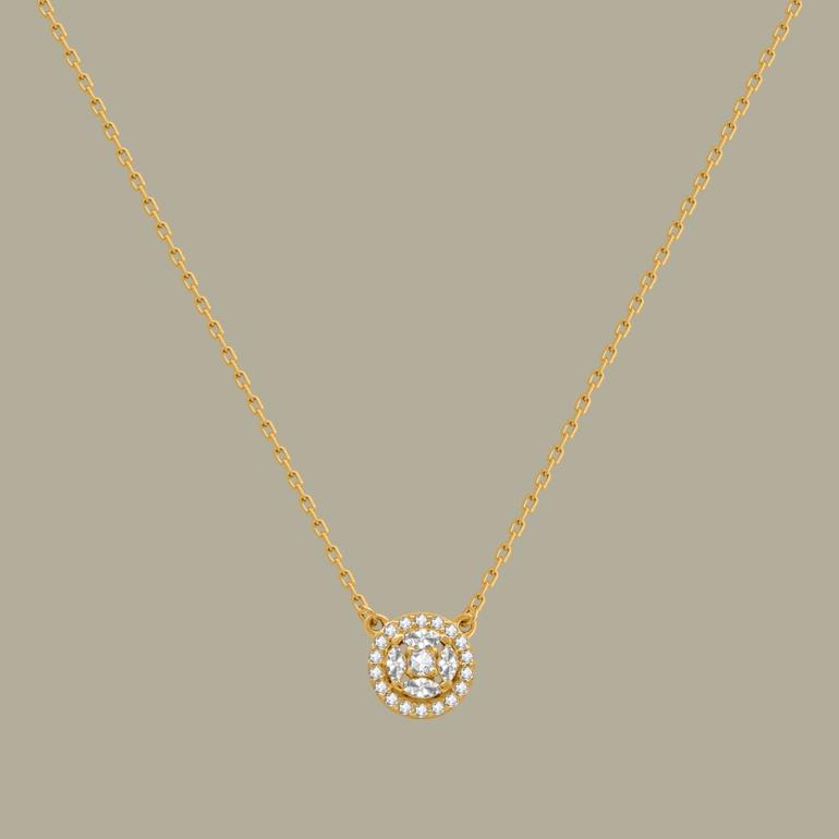 Fabian Round Pendant Gold Necklace-FLJ-CG20B3970S-NL.G 01