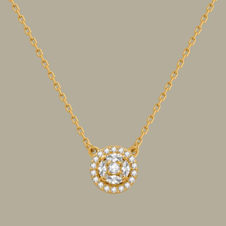 Fabian Round Pendant Gold Necklace-FLJ-CG20B3970S-NL.G 02