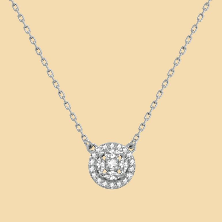 Fabian Round Pendant Silver Necklace-FLJ-CG20B3970S-NL.S 02