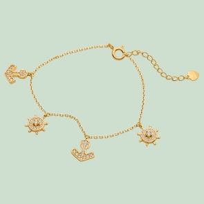 Fabian Ship Wheel & Anchor Design Gold Bracelet-FLJ-CG20B0833A-BR.G 01