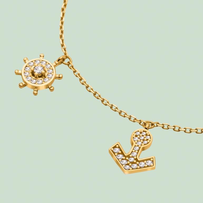 Fabian Ship Wheel & Anchor Design Gold Bracelet-FLJ-CG20B0833A-BR.G 02