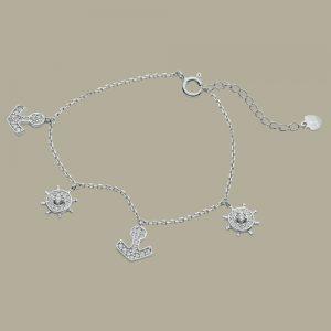 Fabian Ship Wheel & Anchor Design Silver Bracelet-FLJ-CG20B0833A-BR.S 01