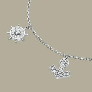 Fabian Ship Wheel & Anchor Design Silver Bracelet-FLJ-CG20B0833A-BR.S 02