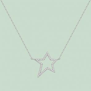 Fabian Star Pendant Silver Necklace-FLJ-GD13N5725A-NL.S 1