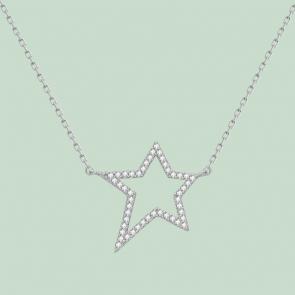 Fabian Star Pendant Silver Necklace-FLJ-GD13N5725A-NL.S 2